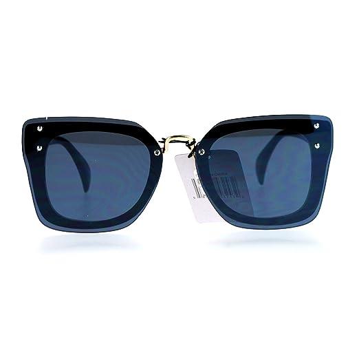 a63404fdaa5 SA106 Womens Flat Lens Rimless Butterfly Horn Rim Sunglasses All Black