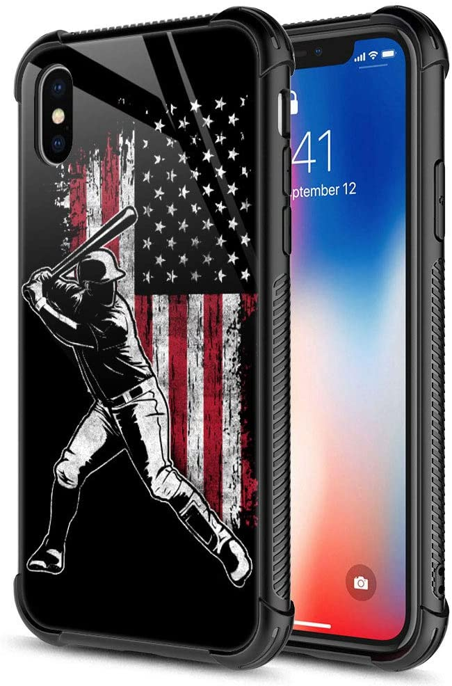 iPhone Xs Case, American Flag Baseball Batter 9H Tempered Glass iPhone X Cases [Anti-Scratch] Fashion Cute Pattern Design Cover Case for iPhone X/Xs 5.8-inch American Flag Baseball Batter