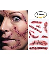 Tinuos Horror Realistic Fake Bloody Wound Stitch Scar Scab Waterproof Temporary Tattoo Sticker Halloween Masquerade Prank Makeup Props-6PC