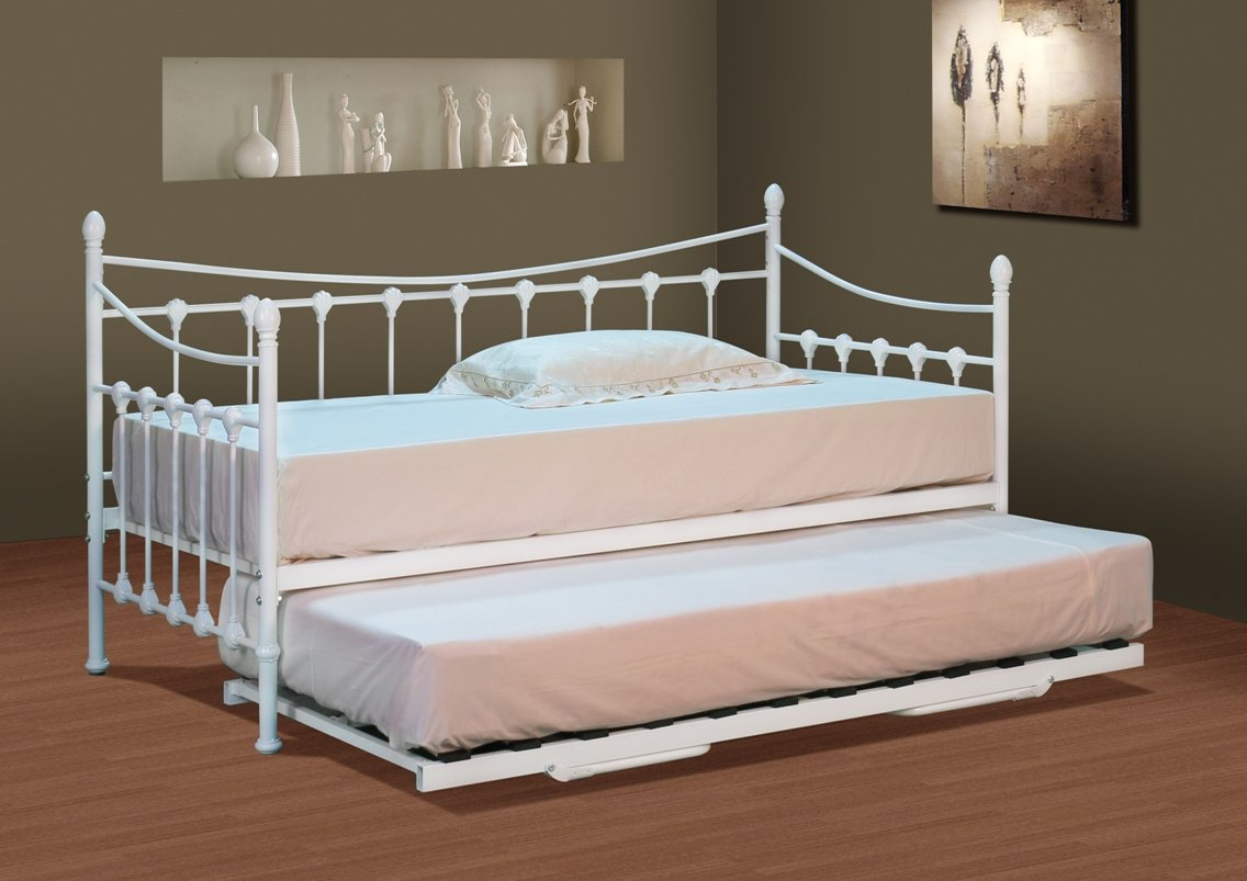 Classic Stunning White Metal Day Bed With Trundle And Mattresses Amazoncouk Kitchen Home