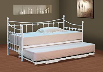 Comfy Living Classic Stunning White Metal Day Bed Trundle Mattresses