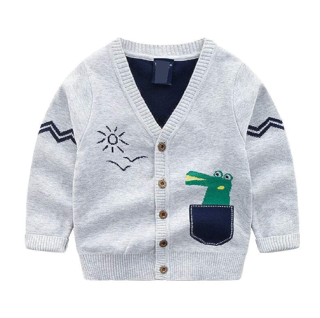 Cromoncent Boys Coat Simple Girl Knit Sweater Cartoon Cute Cardigans