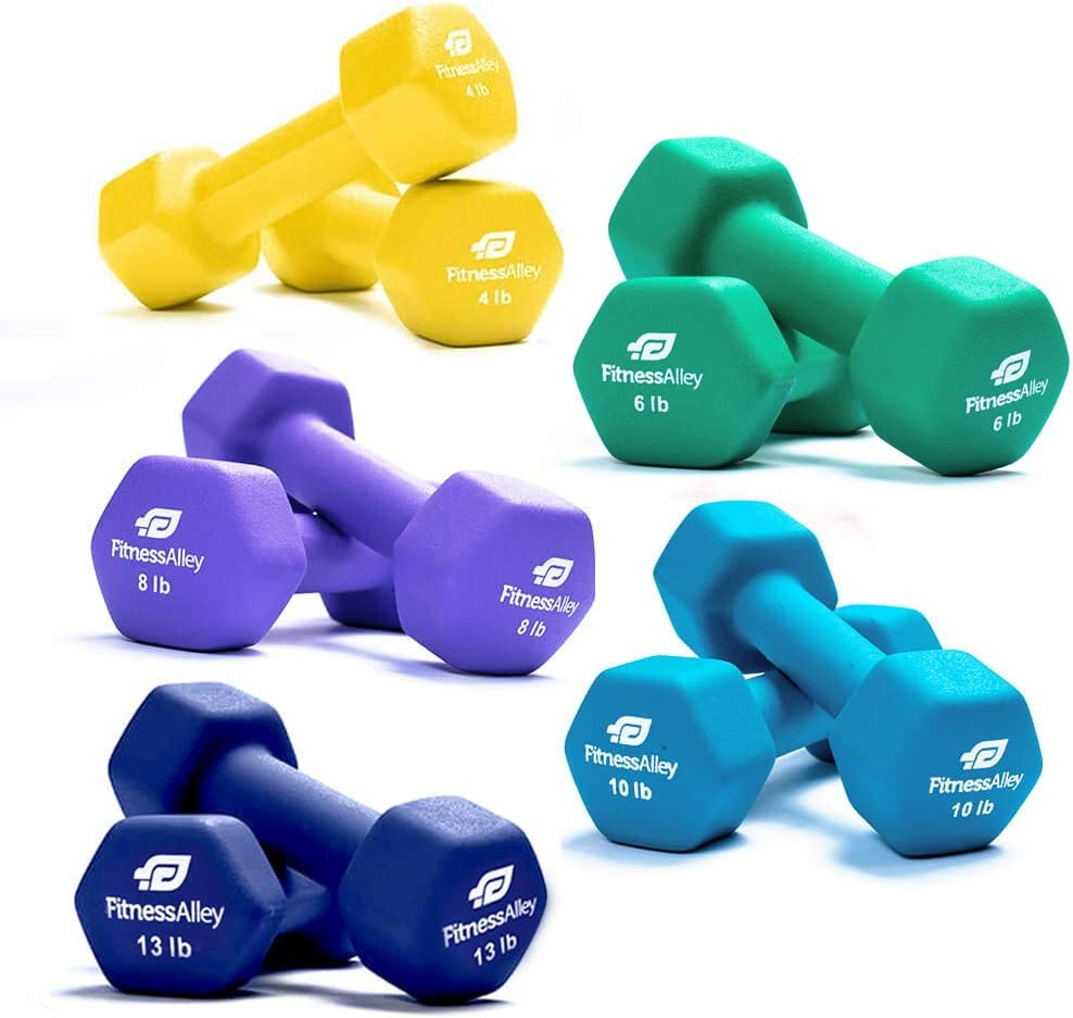 Fitness Alley Neoprene Dumbbell 5 Pairs Set Coated for Non Slip Grip – Hex Dumbbells Weight Set – Neoprene Hand Weight Pairs – Hex Hand Weights Neoprene Dumbbells Combo
