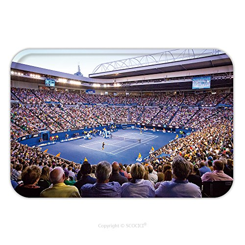 Indian Costume Melbourne (Flannel Microfiber Non-slip Rubber Backing Soft Absorbent Doormat Mat Rug Carpet Melbourne January Crowd T Rod Laver Arena During The Australian Open Mens Championship 126308624 for Indoor/Outdoor/Bat)