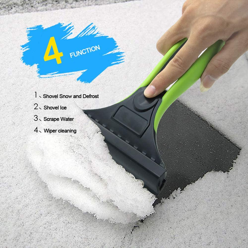 Ice Scraper for Cars 2 in 1 Appropriate Hardness ABS Ice Shovel and PVC Silicon Rubber Wiper Professional Winter Defrost Ice Remover for Car Trucks Windshield Glass