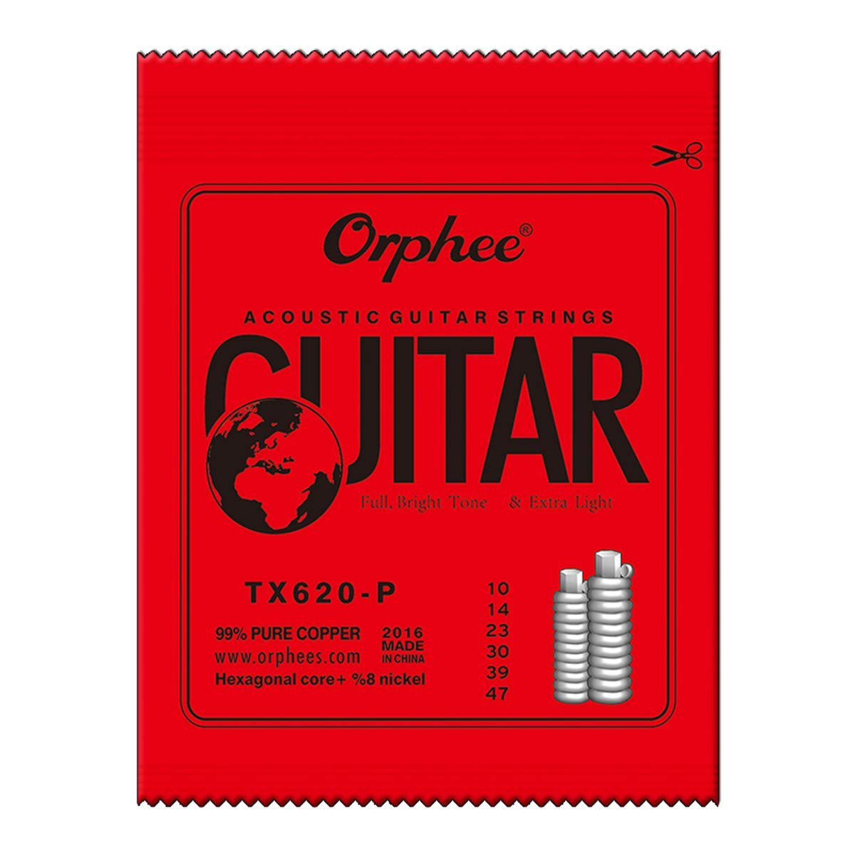 047 3 Packs Orphee TX620-P Colorful Ball-End Pure Copper Acoustic Guitar Strings Extra Light 010 030 023 014 039