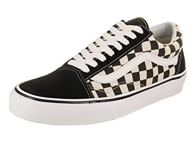 417f9a815c Vans Unisex Checkerboard Old Skool Lite Blk White Checkerboard Slip-On - 3.5