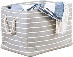 iDesign Luca Fabric Storage, Bin with Handles for Blankets, Pillows, Clothing, Towels - Large, Gray/Cream