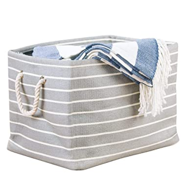 InterDesign Luca Fabric Storage Bin, Container with Handles for Blankets, Pillows, Clothing, Towels, 17  x 12  x 12.5 , Gray and Cream