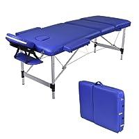 Wellhome 3 Zones Aluminium pliante Table de Massage léger thérapie Tatoo Salon Reiki Sports stadium Clinic appuie-tête réglables + balustrade + 600D housse de transpo(Bleu)