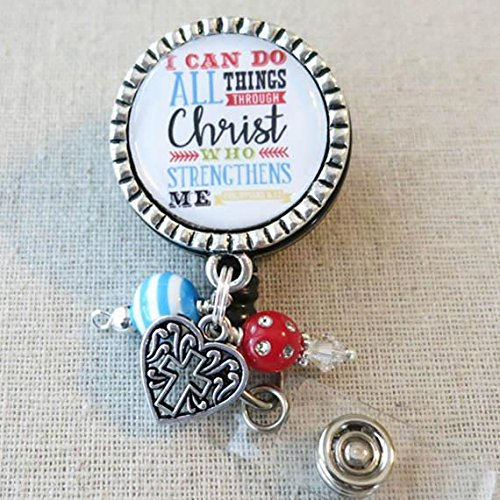 Nursing Badge Reel, I Can Do All Things Through Christ Phil 4:13 - Retractable ID Badge Reel With Swivel Pinch Clip, Nurse Badge Holder, Nurse Graduation - Ma Do