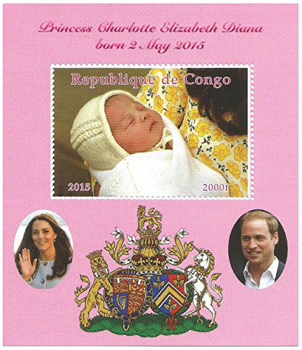 Princess Charlotte Elizabeth Diana Royal Baby miniature stamp sheet with William and Kate / MNH / 2015 / (Princess Postage)