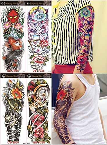 DaLin 4 Sheets Extra Large Temporary Tattoos, Full Arm (Set 12) Koi Tattoo