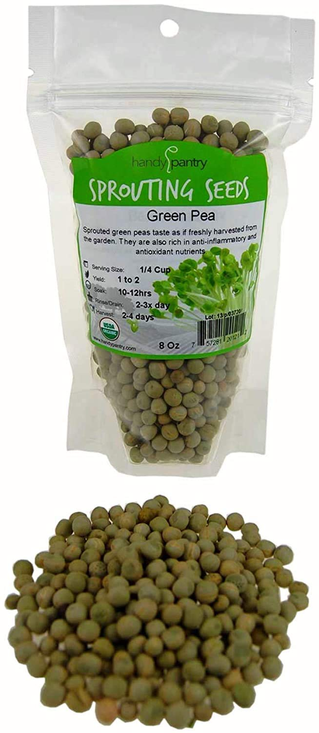 Certified Organic Dried Green Pea Sprouting Seed - 8 Oz - Handy Pantry Brand - Green Pea for Sprouts, Garden Planting, Cooking, Soup, Emergency Food Storage, Vegetable Gardening Product Name