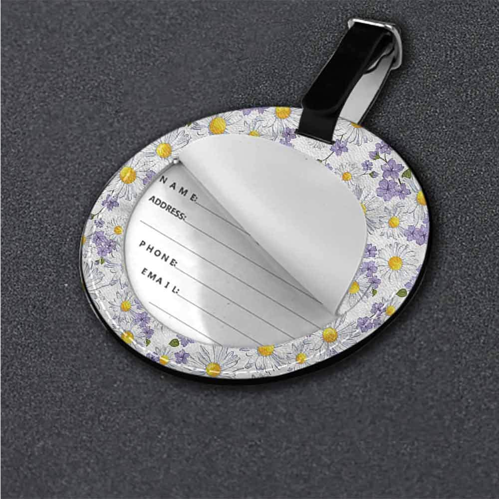 Round Luggage Tags Floral,Blossoms Earthen Tones Bag Pendant