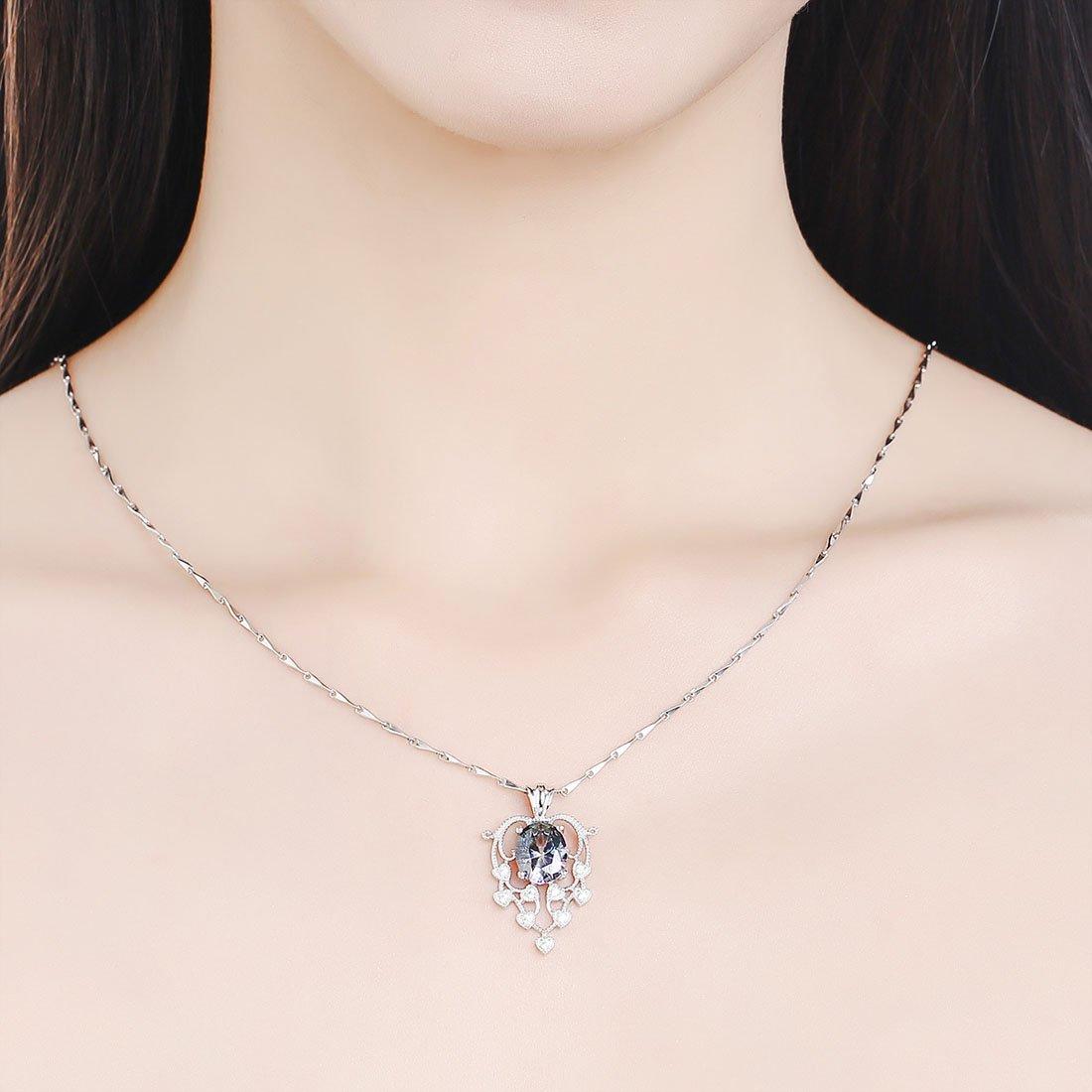 Merthus 925 Sterling Silver Created Spessartine Garnet Charm Pendant Necklace for Women Girls 18