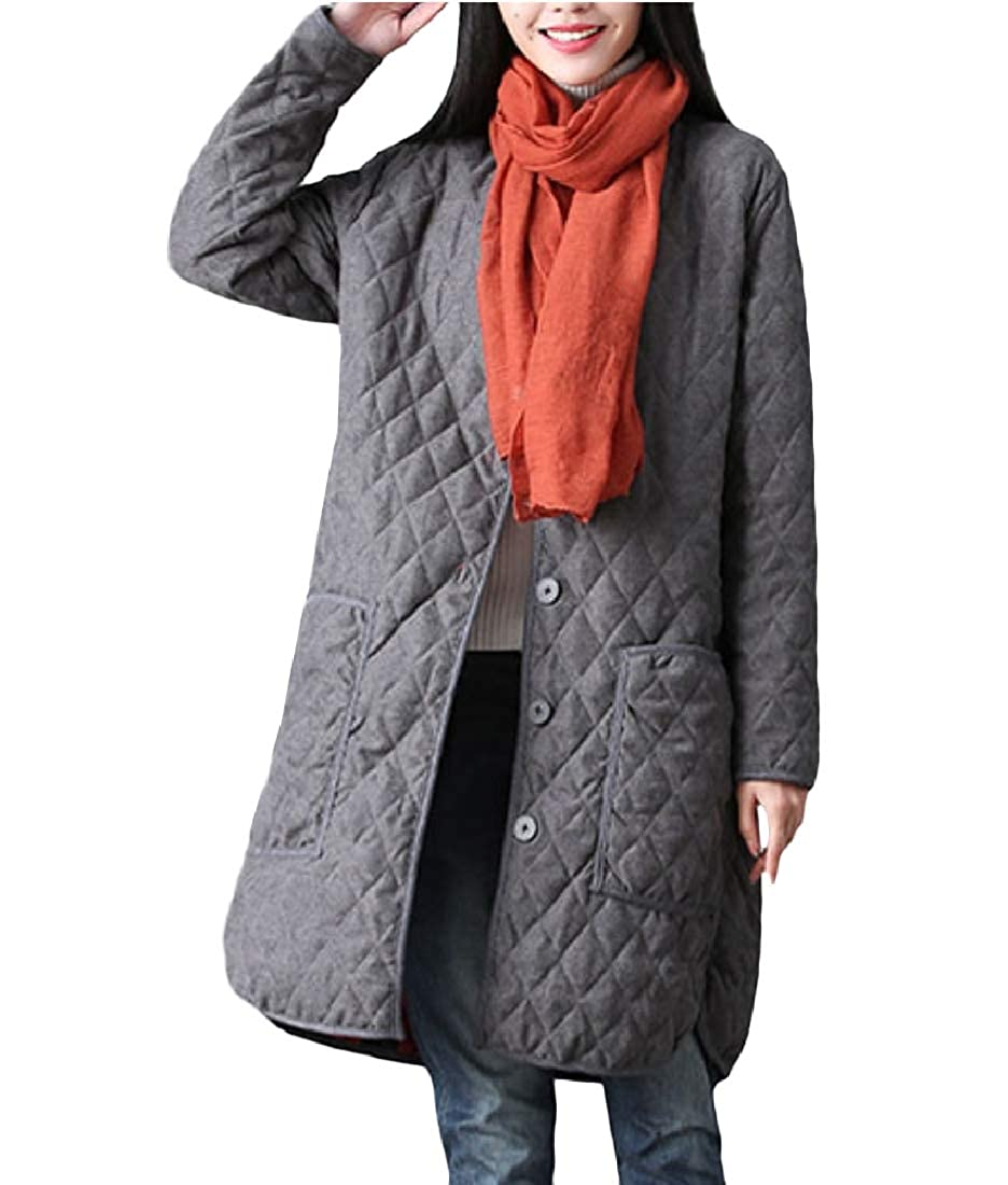 YUNY Womens Linen Cotton Cotton Thicken Warm Cotton Padded Coat Grey S