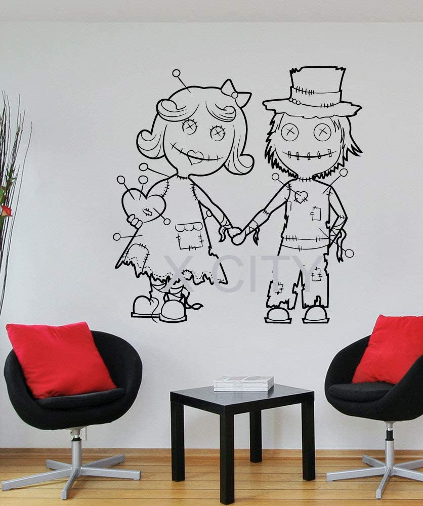 guijiumai Halloween Voodoo Doll Couple Scared Black Vinyl Wall Decal Sticker Art Decoración para el hogar 104X104CM