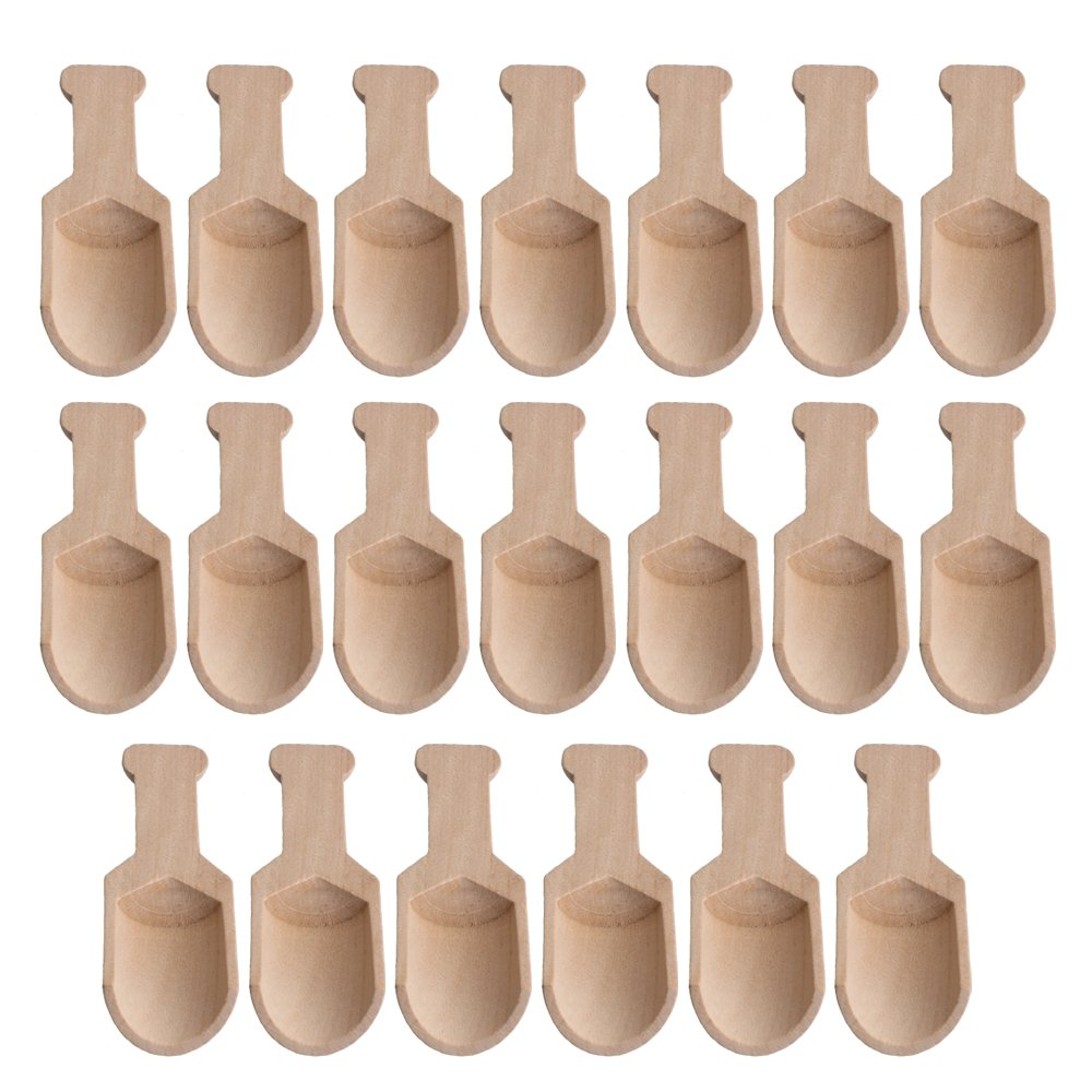 Yibuy 20 Pieces 9.5x3.4cm Wood Color Natural Wooden Small Salt Spice Spoons etfshop