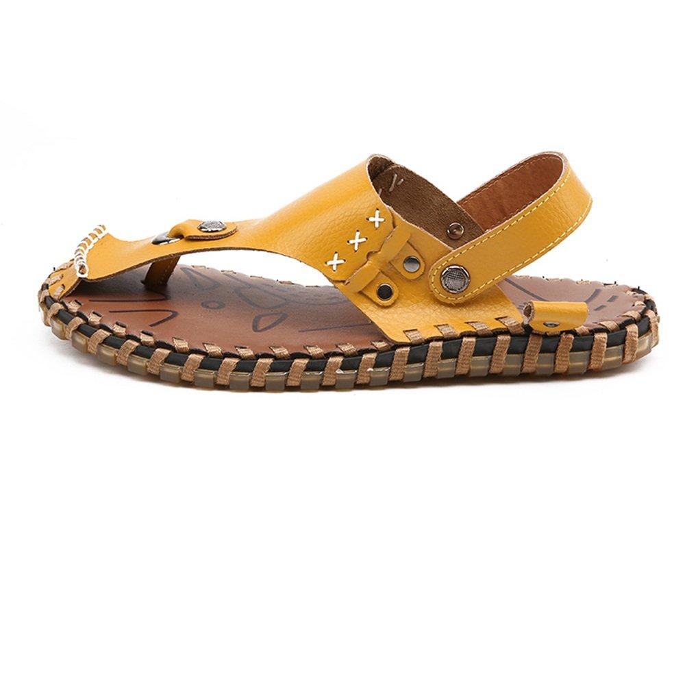 Sandalen für Männer Schuhe Flip aus Echtem Leder Strand Flip Schuhe Flops Hausschuhe Rutschfeste Weiche Flache beiläufige rückenfreie Sandalen (Farbe : Schwarz, Größe : 8.5MUS) Gelb 86bc53