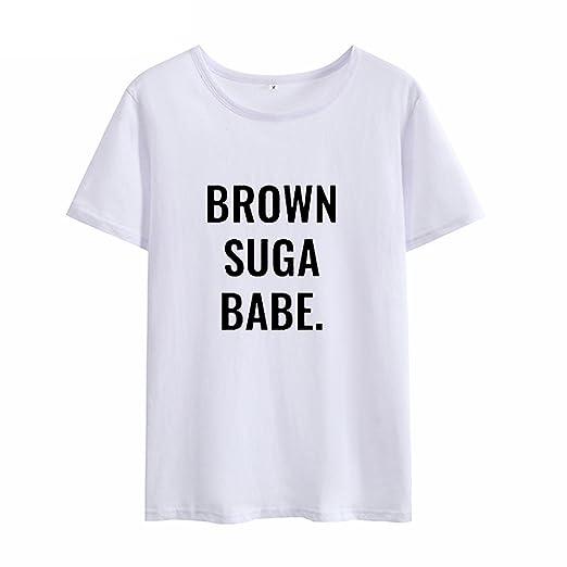 Processes Brown Suga Babe Streetwear Tshirt Women T Shirt 2018 Printed Camisetas Mujer Cotton, Pink, XL at Amazon Womens Clothing store: