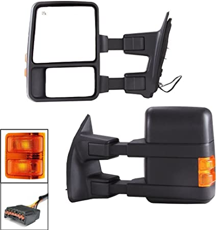 PAIR POWER+HEATED+TURN SIGNAL DUAL ARM REAR TOWING SIDE MIRROR FOR 99+SUPER DUTY