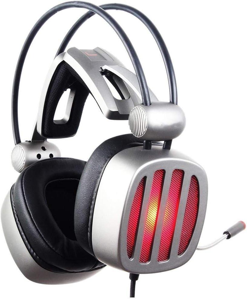 Kanqingqing Auriculares Gaming Conexión de Cable USB 7.1 de Sonido Envolvente de Video Juego Auricular con micrófono de Plata para PC, computadora portátil, Videojuego (Color : Silver, Size : M)