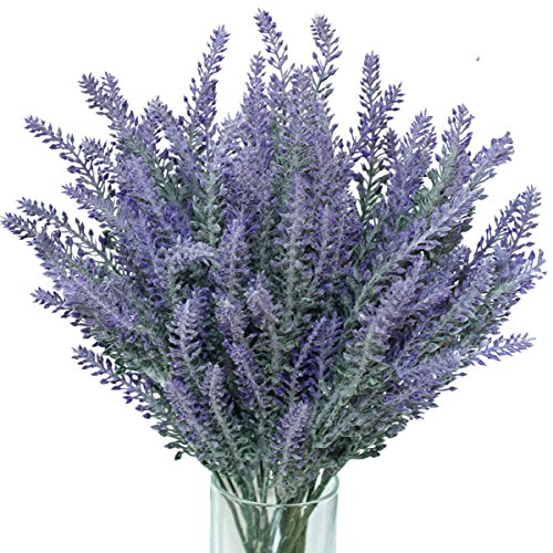 JUYO VONSAN 16pcs Artificial Flowers Artificial Flocked Lavender Bouquet in Purple Flowers Arrangements for Bridal Home DIY Floor Garden Office Wedding Decor(16, Purple)
