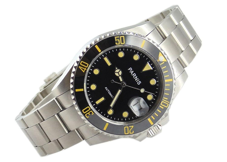 Parnis 40 mmセラミックベゼルブラックダイヤルサファイアガラス自動メンズ腕時計1249 B0743B73DJ