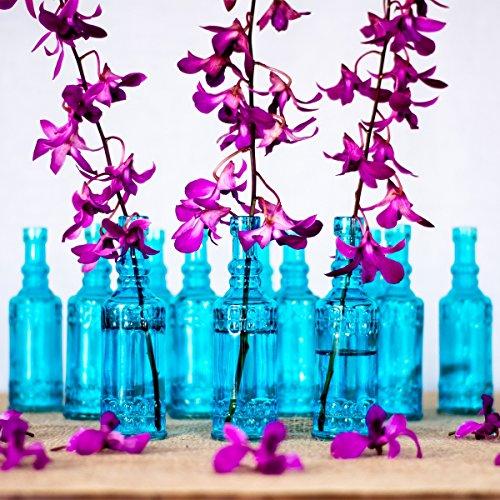 Luna Bazaar Small Vintage Glass Bottle Set (6.5-Inch, Calista Cylinder Design, Turquoise Blue, Set of 12) - Flower (Cheap Flower Vase)