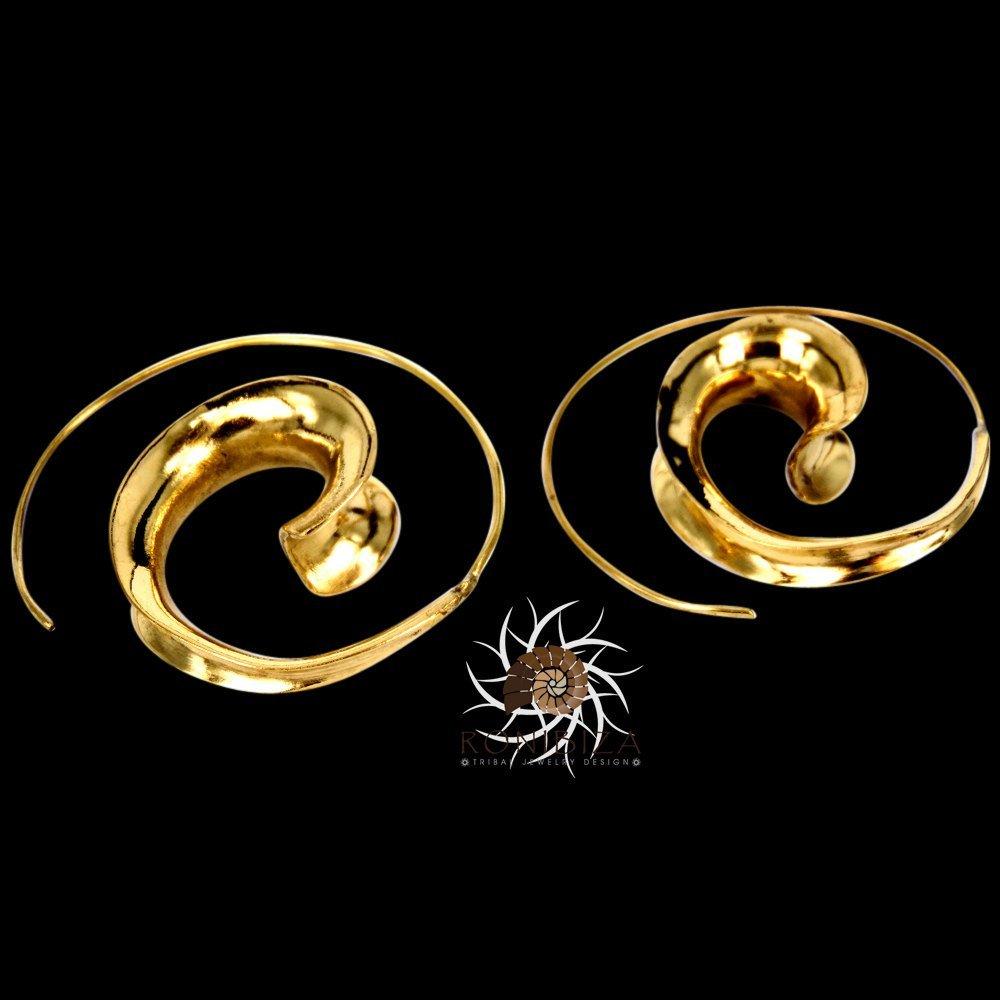 Ohrringe aus Messing - Messing Spirale Ohrringe - Zigeuner Ohrringe - Stammes-Ohrringe - ethnische Ohrringe - Indische Ohrringe - Erklärung Ohrringe - große Ohrringe - Messing Schmuck