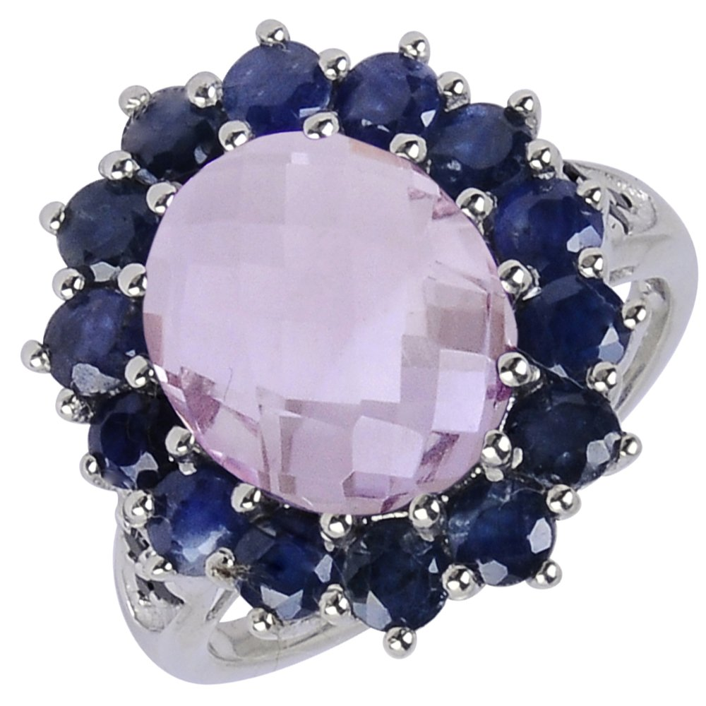 Oval Shaped Checkerboard Pink Amethyst, Sapphire and Spinel 925 Sterling Silver Ring for Women, February Birthstone, Perfect for Engagement, Anniversary, Free Gift Box (6.62 Cttw, 12x10 MM Oval) by Orchid Jewelry (Image #3)