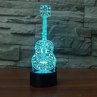 SHNDYW Luz de noche Guitarra 3D Con Notas Musicales Modelado Luz ...