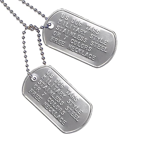 amazoncom custom us military dog tags includes two personalized id tags complete with steel chains and silencers 8 color options available stainless