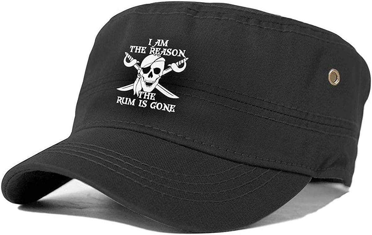 Warum der Rum gegangen ist Piraten-Mode-Erwachsen-Kappen-Unisexhysteresen-Milit/ärarmee-Kadett-Kappen-Flacher Spitzen-Sonnenhut Topsail Works Lustiger Pirat der Grund