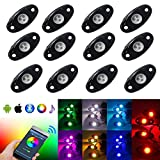 #10: OPPULITE 12Pods RGB Led Rock Lights Kit Led Work Light With Smartphone Bluetooth Led Interior Rock Lights 15 DIY Colors Timing Music Flashing Neon Lights Kits For Off Road Truck SUV ATV Motorcycle