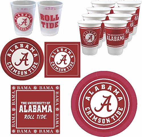 Alabama Crimson Tide Party Supplies - Serves 16 (88 Pieces) -