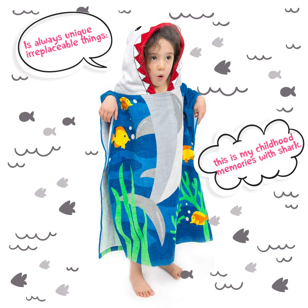 ZINGLIFE Hooded Towels for Kids Baby Boys Girls Toddlers Child Poncho Bath Towel for Beach Pool 100% Cotton Ultra Breathable Soft Enough Thick for Winter Size 24'' x 47''(Brave Shark) by ZINGLIFE (Image #7)