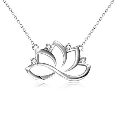 Amazoncom Winnicaca Lotus Necklace Sterling Silver Lotus Flower
