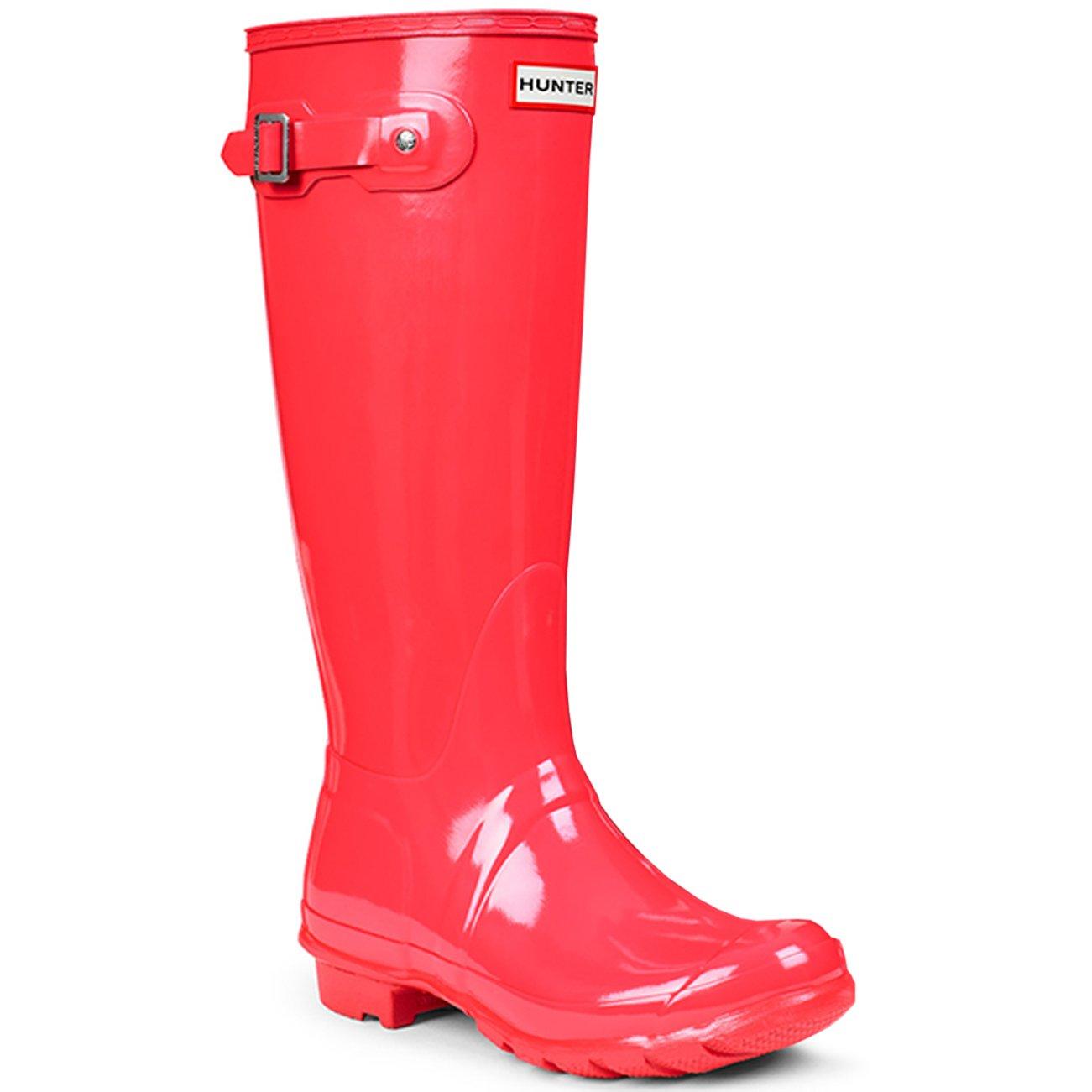 Womens Hunter Original Tall Gloss Waterproof Wellington Winter Rain Boot B00NGPQN2U 5 M US|Bright Coral