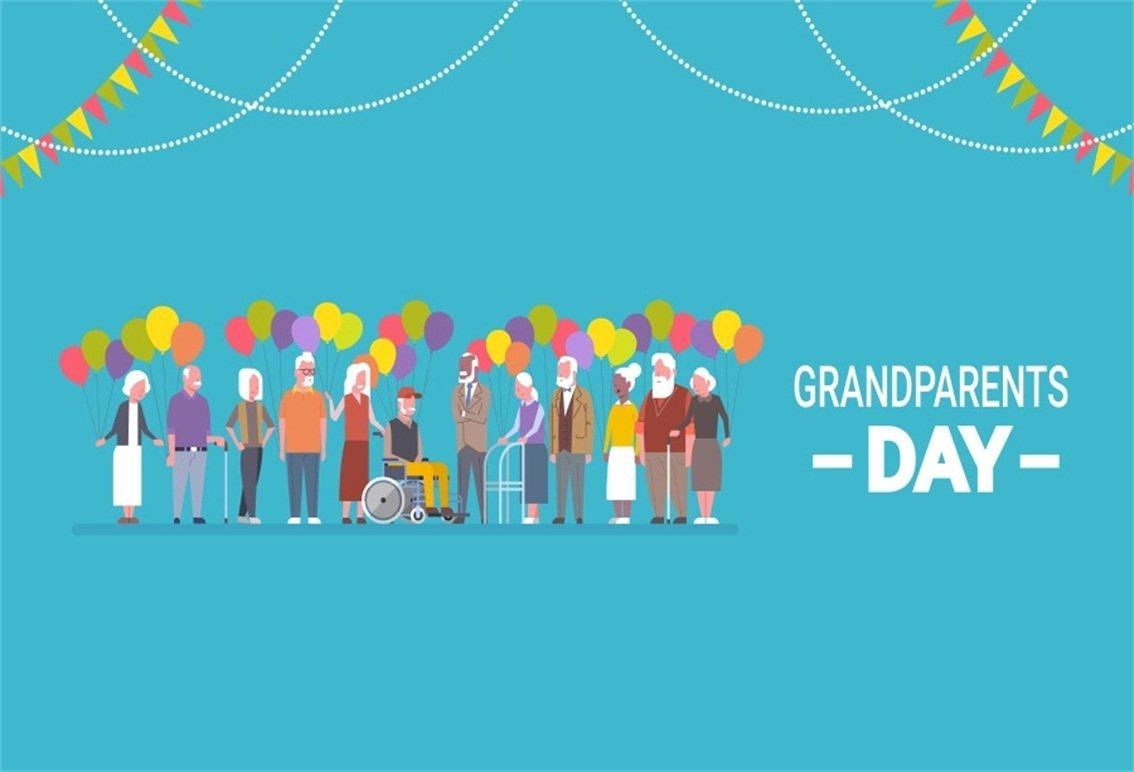 CSFOTO 背景幕 7x5フィート Happy Grandparents Day 写真 背景 Old People Day Celebration バルーン バナー Old People Home 伝統的なホリデー写真スタジオ小道具 ポリエステル壁紙   B07G47GH1G