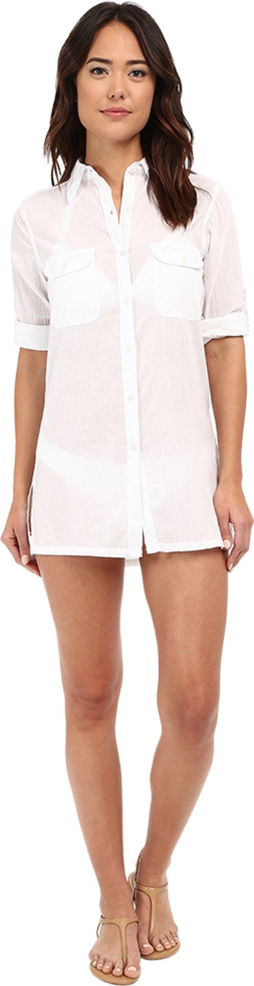 LAUREN Ralph Lauren Women's Crushed Cotton Camp Shirt Cover-Up White 1 Swimsuit Top