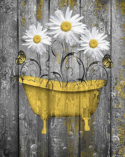 Modern Daisy - Littlepiecreations Original USA Handmade Artwork Yellow Gray Rustic Daisy Flowers Butterflies Bathroom Modern Farmhouse Wall Decor Picture, 8'x10