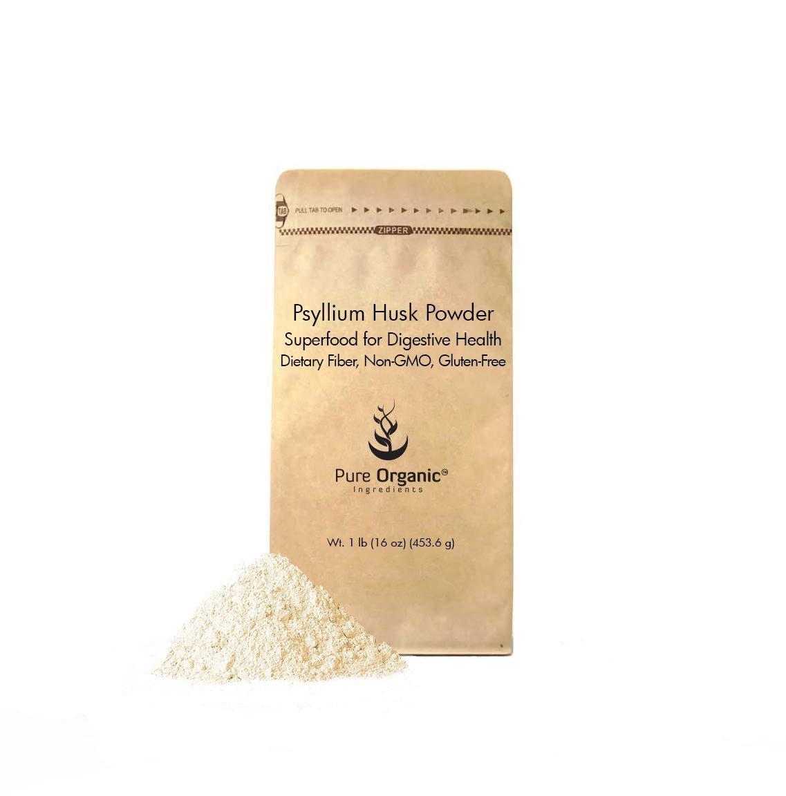 Psyllium Husk Powder by Pure Organic Ingredients, Fiber Powder Supplement, Additive for Gluten-Free Baking (1 lb)