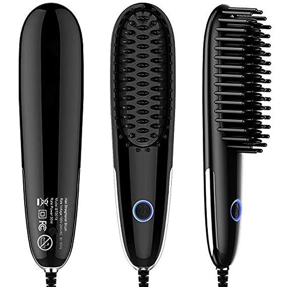 Mini cepillo alisador de pelo LED Indicador Temperatura Ajustable anti quemaduras para hacer que su cabello termine sedoso suave y libre de frizz,Black: ...