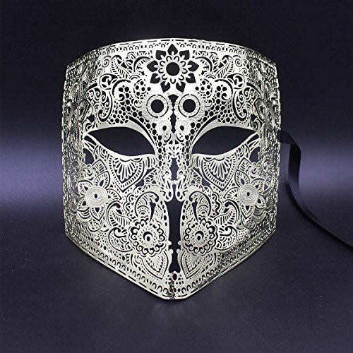 DHmart Gold Silver Full Face Bauta Phantom Cosplay Venetian Masquerade Mask Black Skull Halloween Shield Mardi Gras Metal Party Mask for $<!--$29.93-->