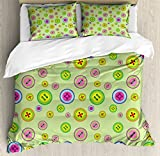 Baby Duvet Cover Set King Size by Ambesonne, Abstract Button Pattern with Colorful Design Crossed Parallel and Squared Pattern Cute, Decorative 3 Piece Bedding Set with 2 Pillow Shams, Multicolor
