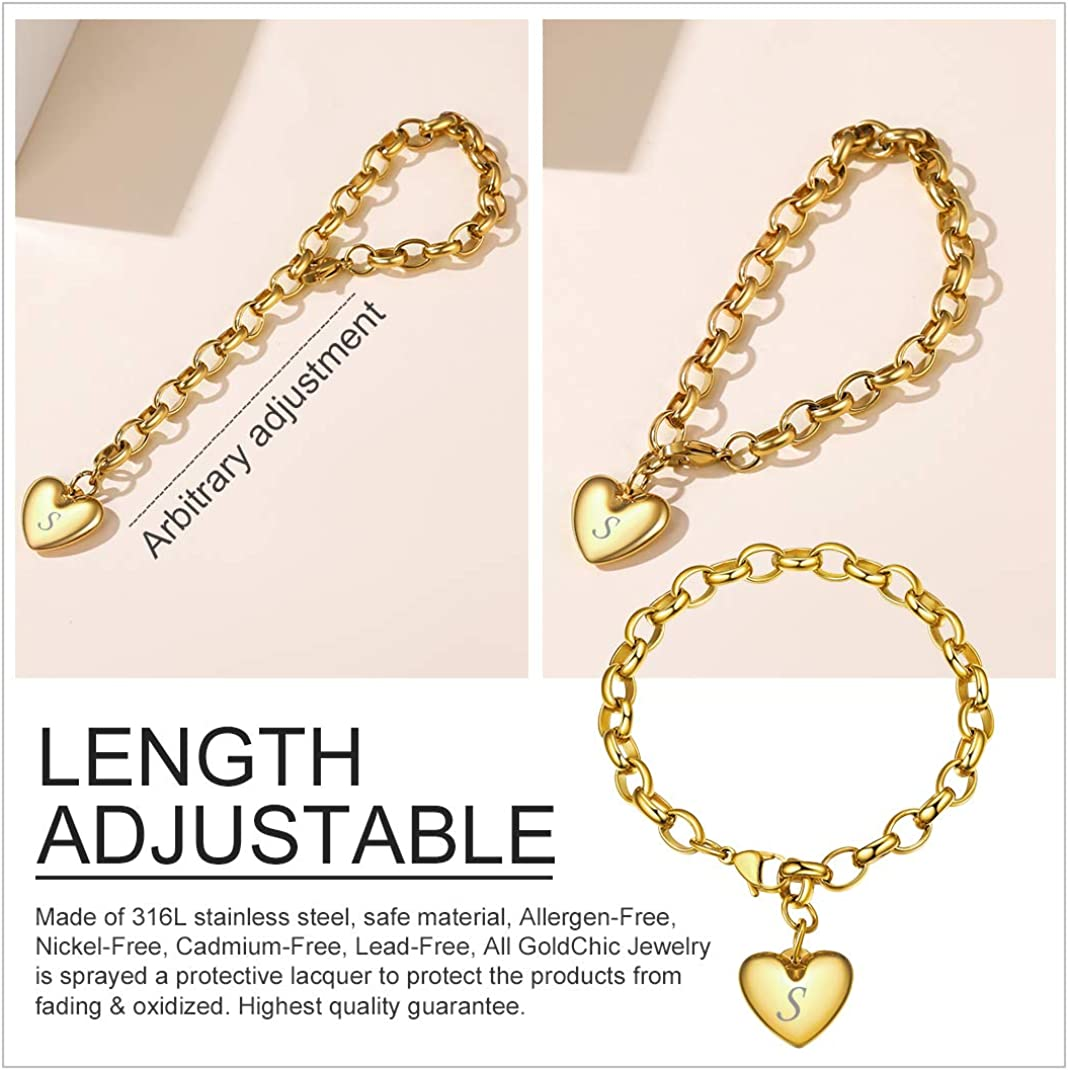 Other Charms Can be Added GoldChic Jewelry Personalized Stainless Steel 26 Initial Heart Charm Bracelet Adjustable for Women//Girls,Cable Link Letters Alphabet Mother Daughter Bracelets