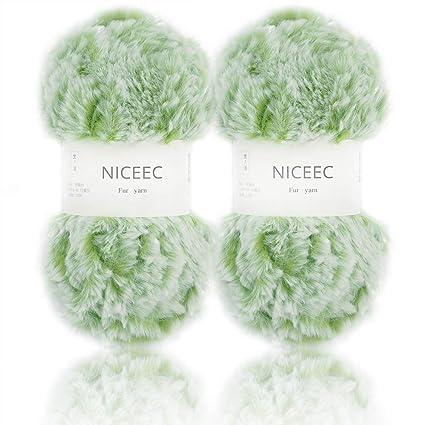 ed2430f3a67141 Amazon.com  NICEEC 2 Skeins Super Soft Fur Yarn Chunky Fluffy Faux ...