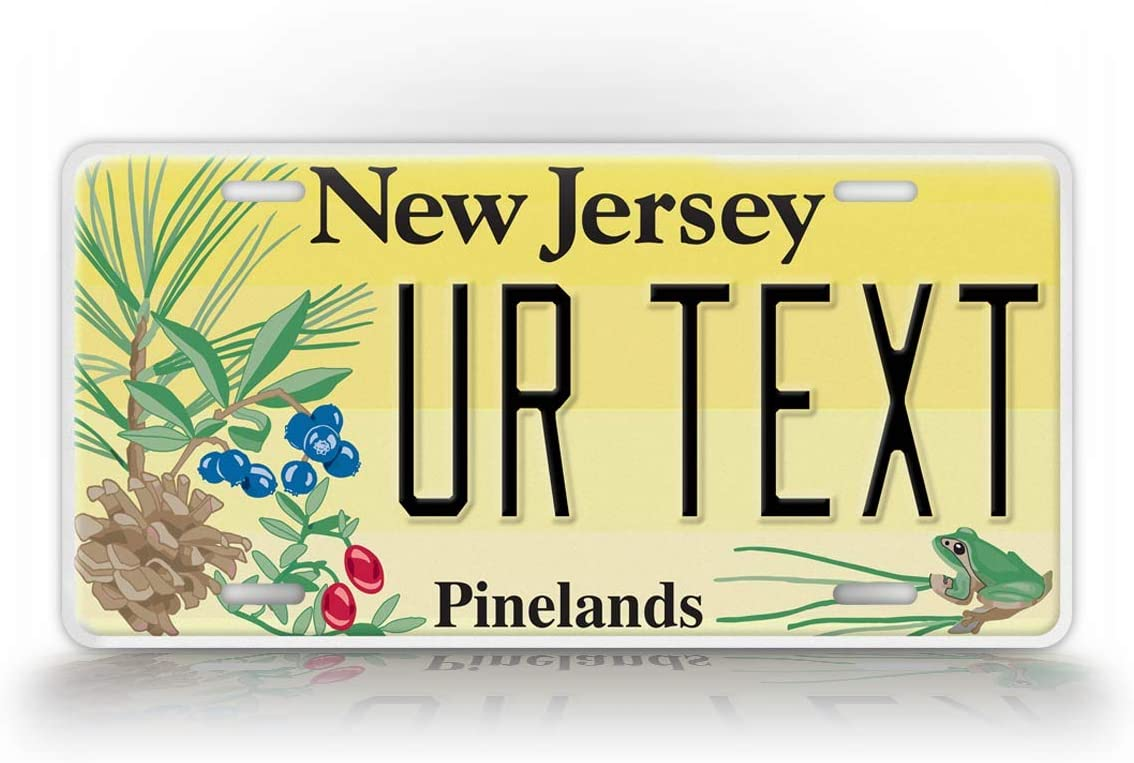 SignsAndTagsOnline Custom New Jersey Pinelands License Plate Any Text Personalized NJ Garden State Metal Auto Tag